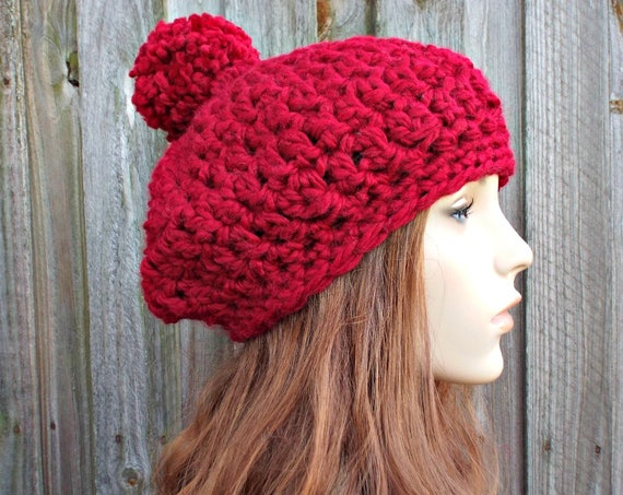Cranberry Red Crochet Hat Red Womens Hat Slouchy Hat - Pom Pom Beret Red Crochet Hat - Red Hat Red Beret Red Beanie