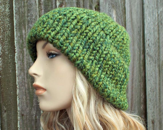 Mixed Green Mens Womens Double Thick Brim Knit Hat - Warm Thick Winter Beanie - Green Hat Green Beanie - Delphine