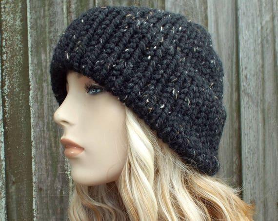 Obsidian Black Tweed Mens Womens Double Thick Brim Knit Hat - Warm Thick Winter Beanie - Black Hat Black Beanie - Delphine