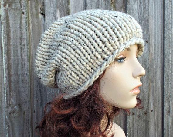 Oatmeal Chunky Knit Hat Womens Warm Winter Hat Knit Accessories - Rowena Slouchy Beanie - Oatmeal Hat Oatmeal Beanie - READY TO SHIP