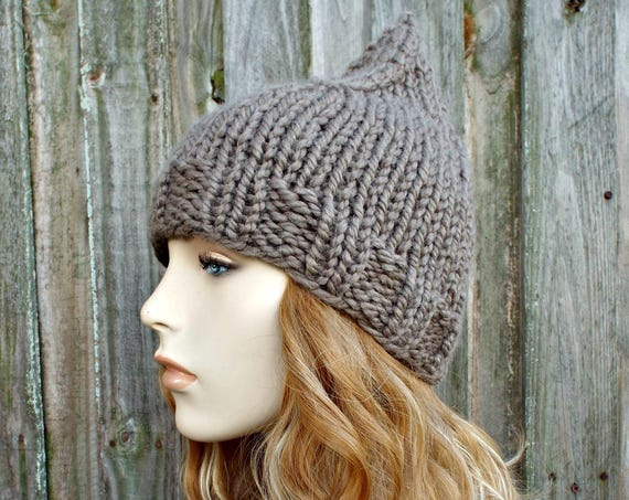 Knit Hat Brown Womens Hat - Taupe Gnome Beanie - Brown Hat Brown Beanie Brown Gnome Hat Womens Accessories Winter Hat