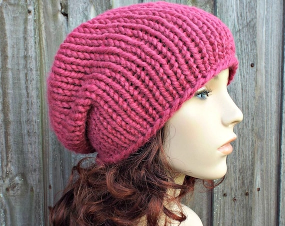 Pink Chunky Knit Hat Womens Warm Winter Hat Knit Accessories - Rowena Slouchy Beanie - Raspberry Pink Hat Pink Beanie - READY TO SHIP