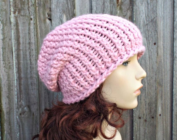 Pink Chunky Knit Hat Womens Warm Winter Hat Knit Accessories - Gertrude Slouchy Beanie - Blossom Pink Hat Pink Beanie - READY TO SHIP
