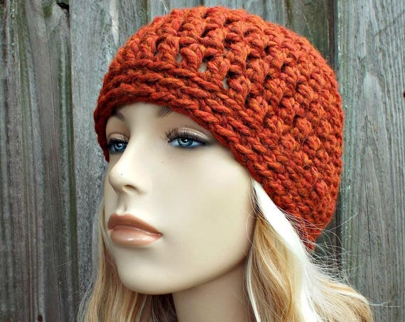 Spice Burnt Orange Beanie - Crochet Womens Hat Mens Hat - Warm Winter Hat Orange Hat