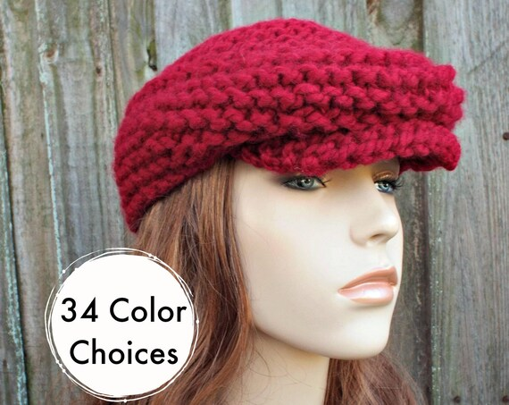 Chunky Knit Hat Cranberry Red Newsboy Hat - Womens Newsboy Hat Mens Newsboy Hat - Red Hat Red Cap Golf Cap