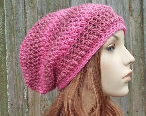 Pink Womens Hat - Penelope Puff Stitch Slouchy Beanie Hat Raspberry Pink Crochet Hat - Pink Hat Pink Beanie Pink Winter Hat