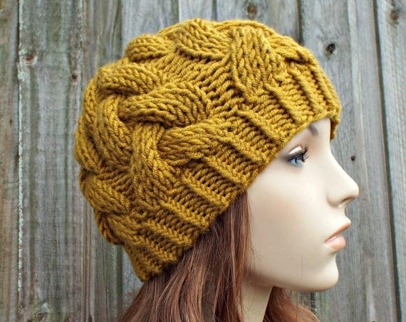 Honey Golden Yellow Knit Cable Beanie - Gold Womens Beanie - Gold Cable Hat Gold Hat Warm Winter Hat - Cable Beanie - READY TO SHIP