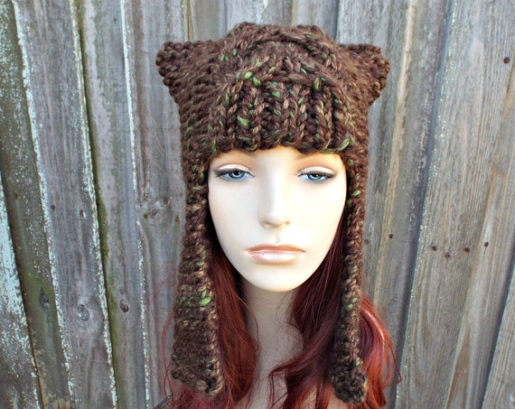 Mesquite Mixed Green Brown Ear Flap Hat Brown Knit Hat Brown Womens Hat - Dragon Slayer Cable Hat - Brown Hat Womens Accessories Winter Hat