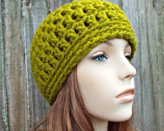 Lemongrass Green Beanie - Green Crochet Hat Green Womens Hat Green Mens Hat - Warm Winter Hat Green Hat - READY TO SHIP