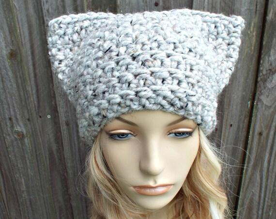 Grey Tweed Cat Hat - Thermal Crochet Hat Women Warm Winter Beanie - Grey Hat Grey Beanie - Pussyhat Pussy Hat - READY TO SHIP