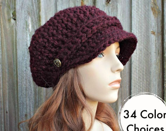 Claret Red Wine Hat Burgundy Newsboy Hat Red Crochet Hat Red Womens Hat Red Slouchy Hat Fall Fashion Winter Accessories