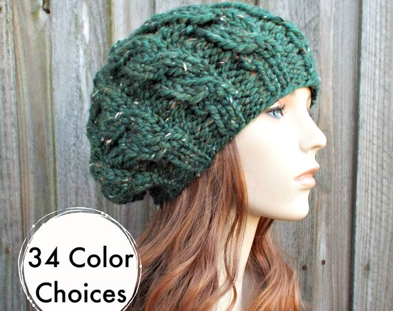 Womens Chunky Knit Hat - Tweed Kale Green Cable Beret - Fall Fashion Warm Winter Hat Knit Accessories