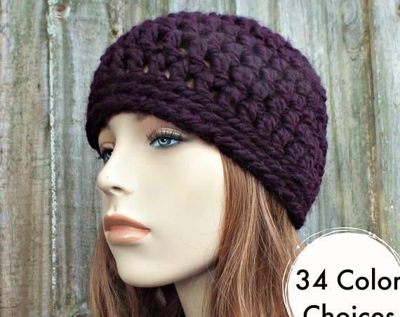 Eggplant Purple Beanie Purple Hat - Purple Crochet Hat Purple Womens Hat Mens Hat - Warm Winter Hat Purple Beanie