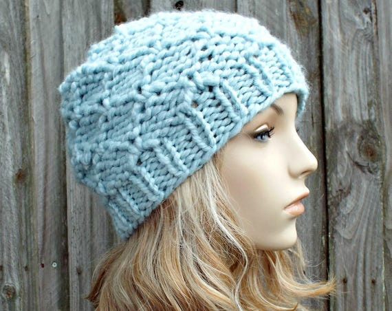 Womens or Mens Knitted Light Blue Beanie - Knit Hat Warm Wool Blend Winter Beanie - Harlequin in Glacier Blue