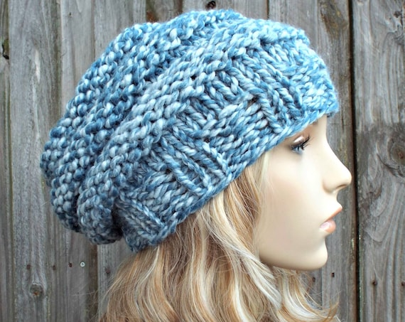Peppermint Light Blue Knit Hat Blue Womens Hat - Beehive Beret - Blue Hat Blue Beret Blue Beanie Blue Winter Hat - READY TO SHIP