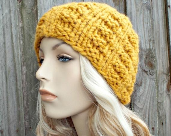 Yellow Mustard Knit Hat Mustard Womens Hat Mustard Hat Mustard Beanie - Winter Beanie Warm Hat - Waffle Beanie - READY TO SHIP