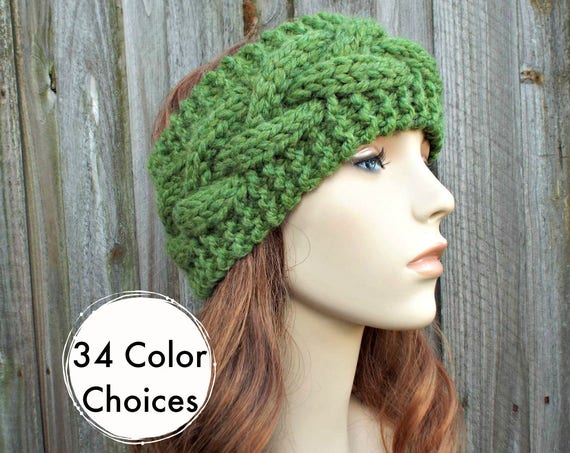 Branch Cable Headband in Grass Green - Green Headband Greed Earwarmer Womens Head Wrap - Knit Accessories