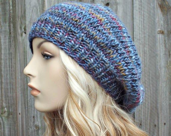 Womens or Mens Oversized Knitted Blue Beret - Knit Hat Warm Winter Beanie - READY TO SHIP
