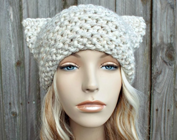 Cream Cat Hat - Thermal Crochet Womens Winter Beanie in Cream Tweed Wheat - Pussyhat Pussy Hat
