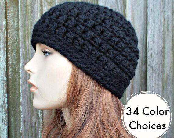 Black Beanie Black Hat - Black Crochet Hat Black Womens Hat Black Mens Hat - Warm Winter Hat