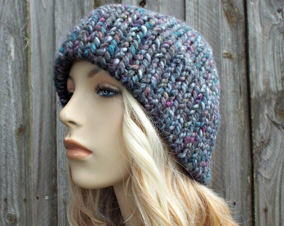 Knit Hat Women Double Thick Brim Knit Hat - Warm Thick Winter Beanie - Abalone - Grey Hat Grey Beanie - Delphine - READY TO SHIP