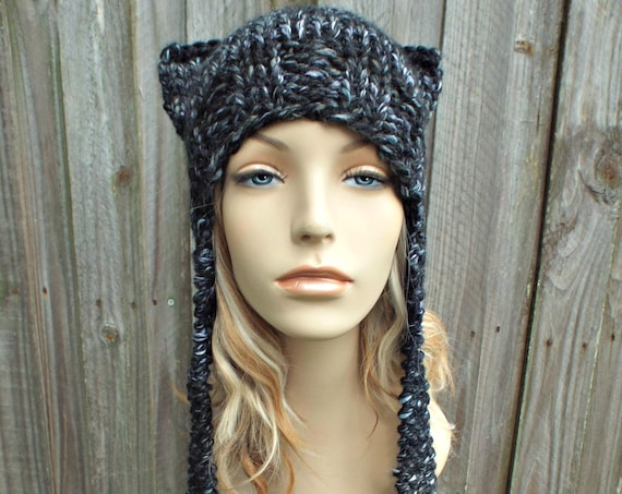 White and Black Cat Hat Womens Hat - Black Ear Flap Cat Hat - Black Ear Hat Black Hat Black Beanie Black Pussyhat Pussy Hat