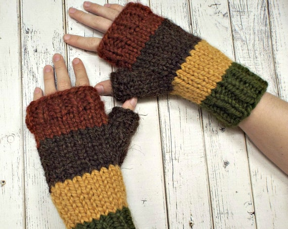 Color Block Fingerless Gloves - Striped Gloves Striped Mittens Rust, Brown, Mustard, Olive Green Gloves - Womens Accessories Wrist Warmers