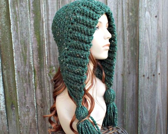 Kale  Green Crochet Hat Green Womens Hat Green Hat - Green Hood Green Tassel Hat Green Ear Flap Hat - Green Winter Hat