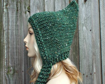 Knit Hat Green Womens Hat - Pixie Hat Green Knit Hat - Green Hat Green Pixie Hat Green Winter Hat - Kale Green Tweed - READY TO SHIP