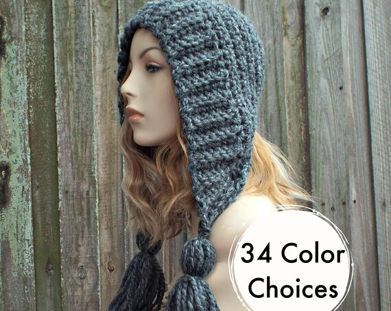 Granite Grey Crochet Hat Women Hat Crochet Hood Hat - Grey Tassel Hat Grey Ear Flap Hat - Grey Hat Grey Hood Winter Hat