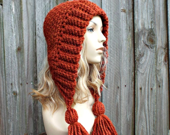Burnt Orange Crochet Womens Hat - Orange Tassel Hood Orange Ear Flap Hat - Orange Winter Hat Spice Orange Hat