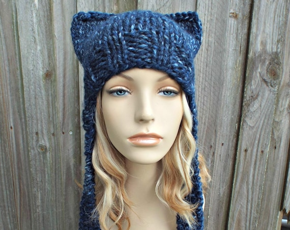 Mixed Blue Cat Hat Womens Hat - Blue Ear Flap Cat Hat - Blue Ear Hat Blue Hat Blue Beanie Blue Pussyhat Pussy Hat