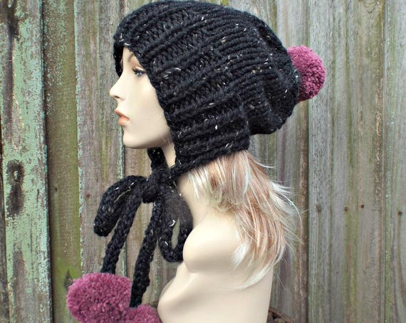 Obsidian Black Tweed Slouchy Hat Womens Hat Black Hat Black Beanie Black Slouchy Beanie - Charlotte Slouchy Ear Flap Hat With Pink Pom Poms