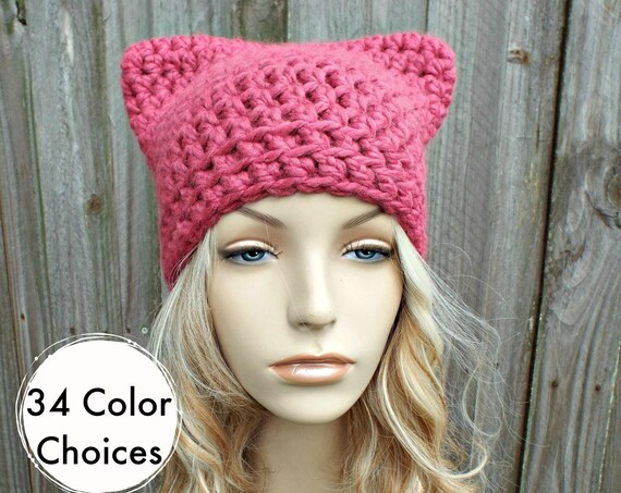 Pink Cat Hat - Crochet Womens Winter Beanie in Raspberry - Pink Pussyhat Pink Pussy Hat