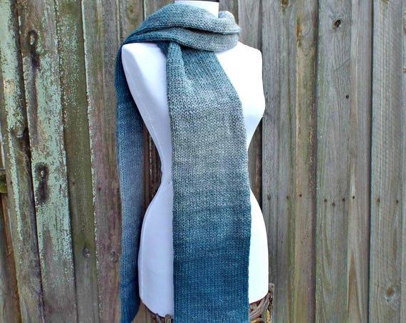 Double Knit Silver Teal Blue Scarf Grey Mens Scarf Grey Womens Scarf Chunky Knit Scarf Grey Scarf - Knit Accessories