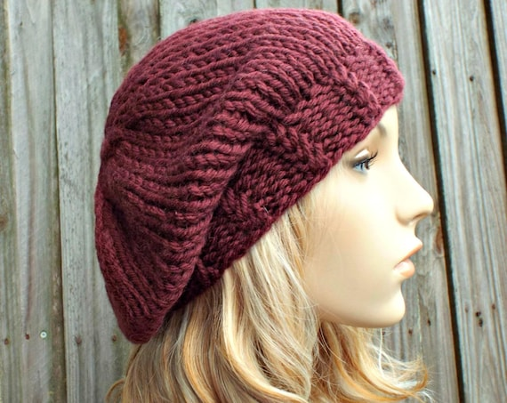 Pomegranate Red Oversized Beret - Womens or Mens - 100% Wool Warm Winter Hat - READY TO SHIP