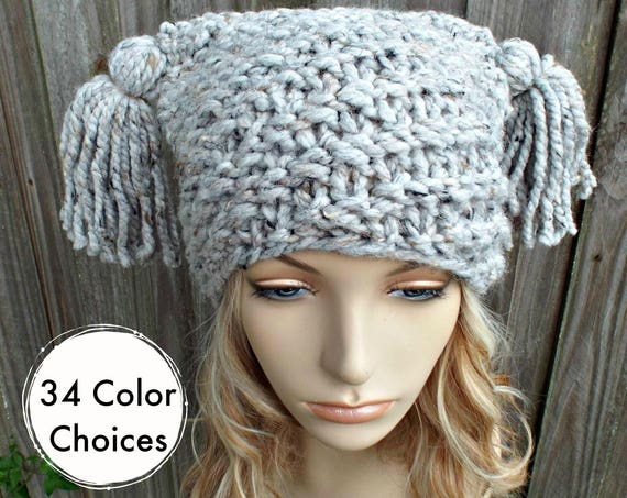 Grey Tweed Spiral Ponytail Knit Hat Grey Womens Hat - Grey Tassel Hat - Grey Beanie Grey Hat Warm Winter Hat