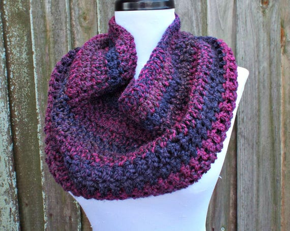 Crocheted Cowl Scarf - Hamptons Cowl Scarf in Grape Jelly Purple - Purple Scarf Purple Cowl Womens Accessories - READY TO SHIP