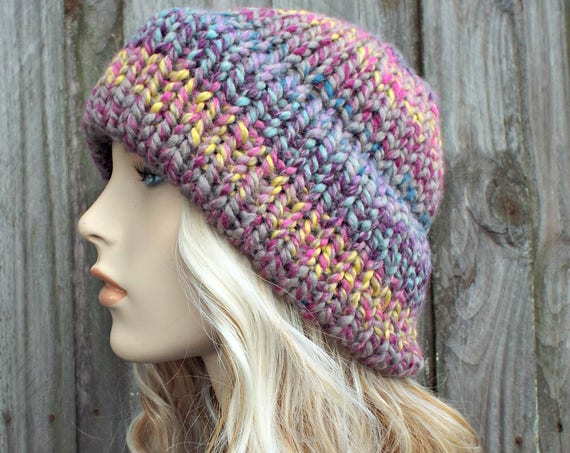 Mixed Color Womens Double Thick Brim Knit Hat - Warm Thick Winter Beanie - Astroland Pink Hat Pink Beanie - Delphine