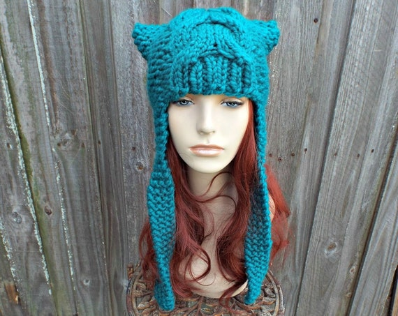 Chunky Knit Hat Womens Hat - Cat Dragon Peacock Blue Ear Flap Hat Blue Knit Hat - Blue Hat Winter Hat Blue Cat Hat