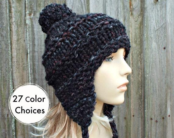 Blackstone Black Hat Black Ear Flap Hat Black Beanie - Black Ski Cap Hat With Pom Pom - Black Womens Hat Black Winter Hat