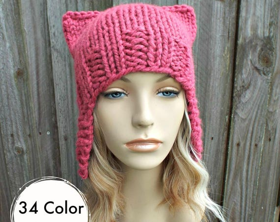Pink Pussyhat Pink Cat Hat Womens Hat - Raspberry Pink Ear Flap Cat Hat - Ear Flap Hat Pink Hat Pink Beanie Pink Pussy Hat