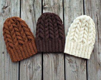 Knitted Hat Pattern, Hat Knitting Pattern, Knit Beanie, Knit Hat, Womens Hat, Mens Hat, Cable Hat Pattern, Knit Cap, Dueling Cables Beanie