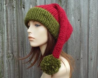 Santa Hat Christmas Hat Elf Hat Knitted Hat Knit Hat Womens Hats Winter Hat Mens Hat - Adult Size Santa Claus Hat