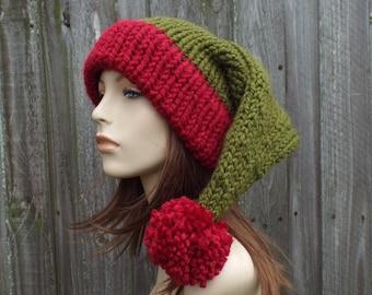 Santa Hat Christmas Hat Elf Hat Knit Hat Mens Hat Womens Hats Winter Hat - Adult Size Santa Claus Hat