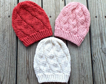 Knitted Hat Pattern Hat Knitting Pattern - Knitted Beanie Pattern Womens Winter Hat or Mens Beanie Pattern Bulky Yarn - Cordelia Beanie