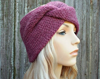 3de2accceb7 Womens Twisted Headband Knitted Head Band Twisted Knit Headband Pink  Heather - Pink Headband Pink Earwarmer Pink Headwrap - Ready To Ship