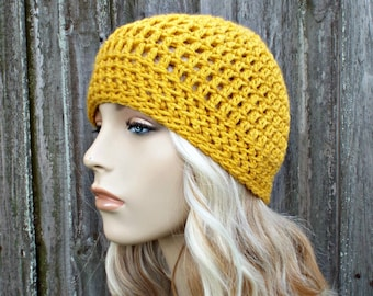 e0d9f4d792def Fitted Beanie Skullcap - Mustard Beanie Yellow Beanie - Crochet Womens Hat  Mens Hat - Light Weight Summer Beanie Beach Hat Crochet Beanie