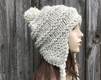 Chunky Knit Hat, Womens Hat, Mens Hat, Winter Hat, Pom Pom Hat, Ear Flap Hat, Knit Cap, Knit Beanie, Ski Cap, Wheat