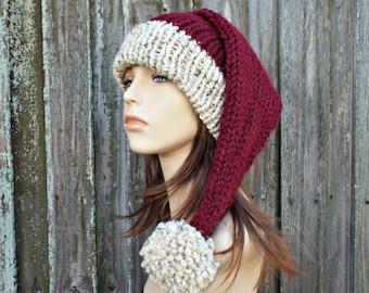 Santa Hat Knitted Santa Hat Rustic Santa Hat Santa Claus Hat Christmas Hat Knit Hat Womens Hats Winter Hat Mens Hat Winter Accessories